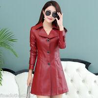 2016 New winter Windbreaker women leather coat leather long Windbreaker jacket