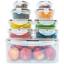 9 x Premium Food Storage Containers Set Snap-Lock Lids Stackable Plastic Kitchen