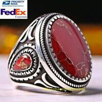 Turkish Different 925 Sterling Silver  Agate Aqeeq Red Mens Gift Ring ALL SİZE