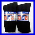 Lot of 6 Pairs New Cotton Men's Boys Athletic Sports Crew Socks 10-13 Black