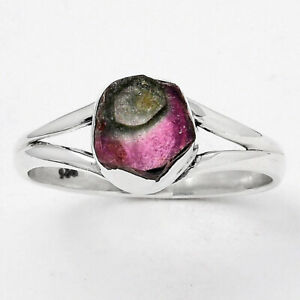 Natural Watermelon Tourmaline 925 Sterling Silver Ring s.8 Jewelry 3826