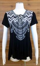 Vocal Top! Beautiful Design on V-Neck, Lace Up Front, Bling!! - Sz Lg - #16239S