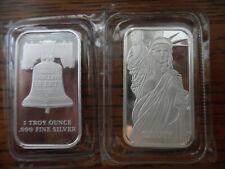 2 Lot 1 Troy oz .999 Fine Silver Johnson Matthey MTB Liberty Bar SD Bullion BU