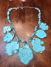 Chico's Designer Large Faux Turquoise Stones Statement Necklace