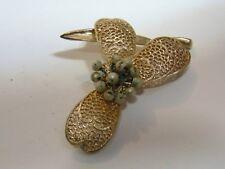 "Judy Lee Flower Leaf 3"" pin brooch mid century modern vintage gold tone FREE SH"