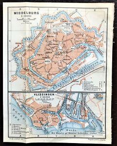1910 ANTIQUE COLOR MAP - MIDDELBURG & VLISSINGEN, NETHERLANDS - 100% ORIGINAL