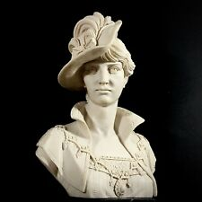 """Stunning Bust Sculpture Fashionable Elegant Lady Signed GIUMELLI 17"""" Tall"""