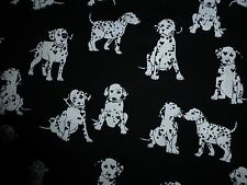 DOGS Fabric Dalmation Fat Quarter Cotton Craft Quilting Puppies Black White