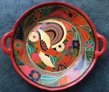 Vintage South American Latin Hand Painted Bird Art Pottery Large Bowl Platter