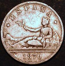 Spain. Governo Provizoria. 2 Pesetas 1870 DE M . Silver Coin.