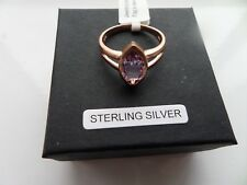 ROSE DE FRANCE AMETHYST STERLING SILVER RING MARQUISE IN ROSE GOLD SIZES R/T/V
