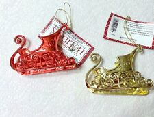 Lot of 2 Metallic Plastic Santa Sleigh Christmas Tree Ornaments Table Decor BX
