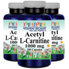 Acetyl L-Carnitine 1000mg 3X200 Caps by Vitamins Because Your Worth it