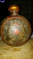 VERY  OLD ANTIQUE HANDMADE HAND PAINTED COPPER VESSEL POSSIBLY AFRICAN,ETHIOPIAN