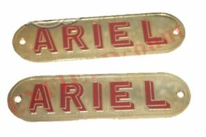 Pair Brass Petrol Gas Fuel Tank Badge Emblem Motif Ariel Motorcycles ECs
