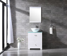 New Bathroom White Wood Cabinet with Round Ceramic Sink Glass Countertop& Mirror