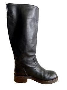 MARNI Leather Knee High Boots Black Designer Size AU 7 / EU 37 RRP: $890.00