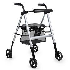 ELENKER Lightweight Portable Foldable Steerable Rollator Walker Four Wheel Drive
