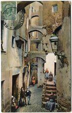 1913 San Remo via Costa abitanti case lampione Paris France FP COL VG ANIM