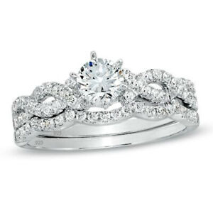 Two Piece Infinity Style Wedding Engagement Ring Set Sterling Silver
