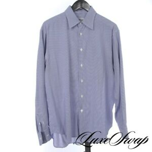 #1 MENSWEAR Brioni Made in Italy White Navy Zig Zag Check Button Down Shirt XL