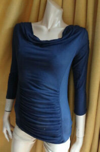(398OCT) Size M 12/14 *PHASE EIGHT* Chic dark blue jersey rouched top ladies
