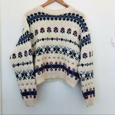 Vintage Laura Ashley Wool Sweater Cream Floral Fair Isle Medium/Large