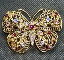 Gold Butterfly Purple Rhinestone  Brooch Pin NEW