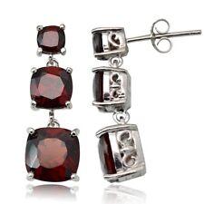 Sterling Silver 8.1ct Garnet Three Stone Cushion-Cut Drop Earrings