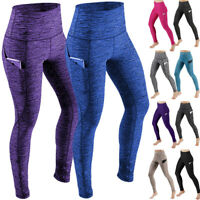 Pocket Womens High Waist Yoga Leggings Push Up Fit Sport Gym Exercise Pants X414