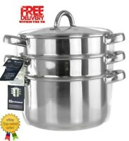 by Unbranded 3pc Tier Stainless Steel Steamer Cooker Pot Set 20cm with Glass Lid