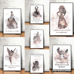 ART PRINT Disney Princess illustration wall art gift decor home Home X7 Pictures