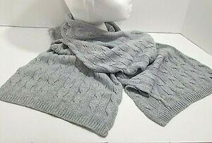 Men's Cable Knit Tommy Hilfiger Winter Scarf MUFFLER Cotton Cashmere Bluish-Grey