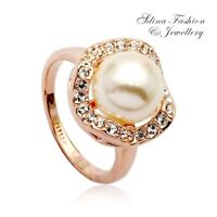 18K Rose Gold Plated Made With Genuine Swarovski Simulated Pearl Flower Ring