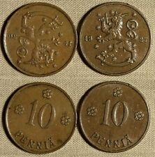 Finland : Lot 2 Coins 10 P 1927 XF Couple Rim Dings  ; 10 P 1930 XF+ #24  IR1184