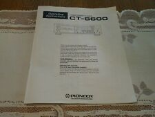 Original OPERATING INSTRUCTIONS Pioneer Owner's Manual for CT-S600 Cassette Deck