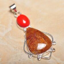 "Handmade Calcite Jasper Gemstone 925 Sterling Silver Pendant 2.75"" #P14297"