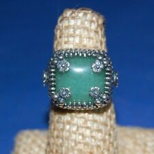 Or Paz .925 Sterling Silver Square Jade Stone Ring Size 9, Made in Israel