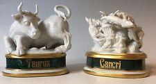 """Vtg MANGANI FIGURINES Signed Italian Porcelain ZODIAC- """"Cacri"""" Cancer & Taurus"""