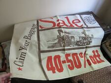 Rrr Co. advertising Sale canvas banner sign with Steam Train engine