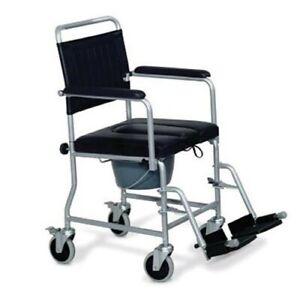 sedia con ruote comoda imbottita con wc per anziani e disabili