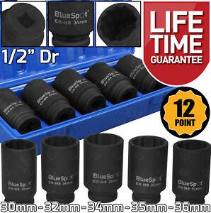 "12 Point Axle Hub Nut DEEP IMPACT Socket Set 1/2""Dr Thin Wall Drive Shaft Socket"