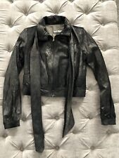 Mike & Chris Black Leather Gold Dusted Cropped Bomber Jacket W/ Scarf Size L