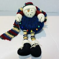 Christmas Ornament Snowman With Dangling Button Legs Soft With Scarf