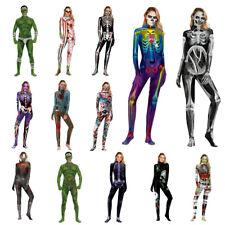 Women Fancy Dress 3D Skeleton Costumes Catsuit Jumpsuit Zentai Halloween Cosplay