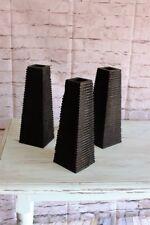 3 x decorative finished black wood vases 30 cm tall