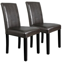 Dining Parson Room Chairs Kitchen Formal Elegant Leather Design Set of 2 Brown