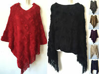 Women Batwing Poncho Knit Cape Cardigan Coat Knitwear Sweater Outwear Jacket 294