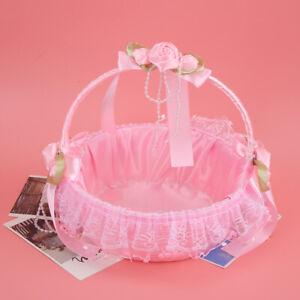 Portable Wedding Lace Flower Basket Container Party Ceremony Supplies Dec