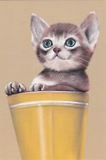 Rare Who called me? Cat in pot by Julia Ermolova Russian modern postcard